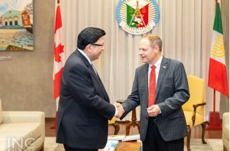 Parliament Secretary to the Leader of the Government in the House of Commons in Canada, His Excellency Kevin Lamoureaux, makes a courtesy call on Iglesia Ni Cristo (Church Of Christ) Executive Minister Brother Eduardo V. Manalo on Tuesday, Jan. 21, 2020.  The member of the Canadian Parliament representing Winnipeg North was also toured around the INC Museum in Quezon City, and the Ciudad de Victoria in Bocaue, Bulacan where the 55,000-seater Philippine Arena is located, after his courtesy call to the INC leader.  (Photo courtesy INC Public Information Office)