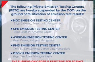 DOTr suspends five emission test centers for alleged falsification of test results