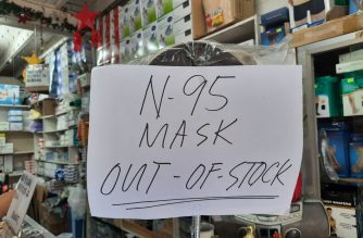 Face masks have gone out of stock in many shops after the ash fall from Taal volcano starting Sunday, Jan. 12./Madz Moratillo/Eagle News/