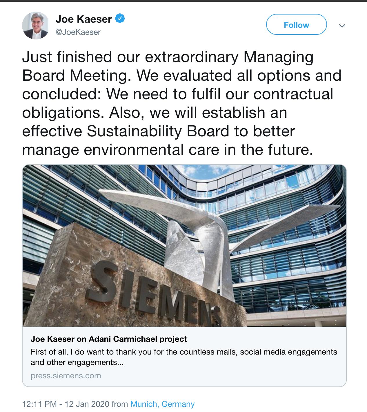 Twitter post of Siemen's CEO