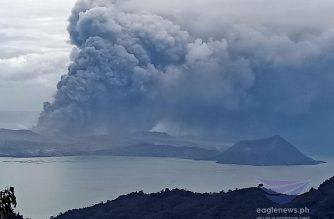 View of Taal Volcano emitting ash, steam and other pyroclastic materials as seen from Tagaytay City on Monday noon, Jan. 13, 2020.  (Photo by Earlo Bringas, Eagle News Service)