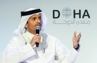 Qatari Deputy Prime Minister and Minister of Foreign Affairs Sheikh Mohammed bin Abdulrahman Al-Thani speaks during the opening session of the Doha Forum in the Qatari capital on December 14, 2019. -  (Photo by mustafa abumunes / AFP)