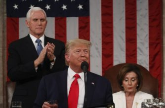 US President Donald Trump delivers the State of the Union address at the US Capitol in Washington, DC, on February 4, 2020. (Photo by LEAH MILLIS / POOL / AFP)
