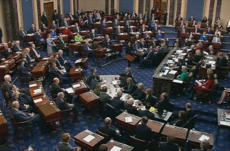 """This still image taken from a US Senate webcast shows Senators voting during the impeachment trial of the US president in the Senate Chamber at the US Capitol on February 5, 2020 in Washington, DC. - The US Senate acquitted President Donald Trump of both impeachment charges, following a historic two-week trial. (Photo by Handout / US Senate TV / AFP) / RESTRICTED TO EDITORIAL USE - MANDATORY CREDIT """"AFP PHOTO / US SENATE TV """" - NO MARKETING - NO ADVERTISING CAMPAIGNS - DISTRIBUTED AS A SERVICE TO CLIENTS"""