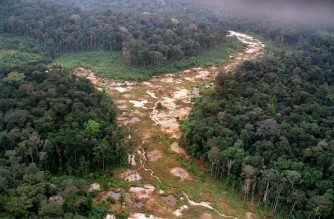 "(FILES) In this file photo taken on April 12, 1991, an aerial photo shows a deforested area in a former gold mine in Brazil's Amazon rain forest. - Brazilian President Jair Bolsonaro is multiplying initiatives to build the Amazon of his ""dreams,"" including a bill, introduced February 5, 2020, that opens up indigenous lands to mining, but defenders of the environment and native peoples denounce that a ""nightmare"" is coming. (Photo by ANTONIO SCORZA / AFP FILES / AFP)"