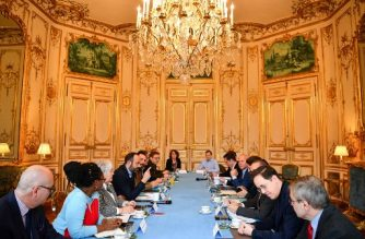 French Government's spokesperson Sibeth Ndiaye (2nd-L), French Minister of Territorial Cohesion and Relations with Territorial Communities Jacqueline Gourault (3rd-L) and French Prime Minister Edouard Philippe (4th-L) attend a meeting with French Health and Solidarity Minister Agnes Buzyn (4th-R) about the situation of the n-Cov 2019 coronavirus on February 8, 2020 at the Hotel Matignon in Paris. - Five British nationals including a child have tested positive for the new coronavirus in France, the health minister said on February 8. France has now detected a total of 11 cases of the novel coronavirus. (Photo by Christophe ARCHAMBAULT / AFP)