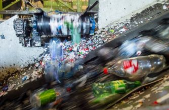 Plastic bottles are treated at a recycling plant of the company Infinitum, in Fetsund, southeastern Norway, on January 21, 2020. - With its 97 percent recycling rate, Norway is 10 years ahead of the EU's 2029 target date, by when countries must recycle at least 90 percent of their plastic bottles. (Photo by Fredrik Varfjell / AFP)