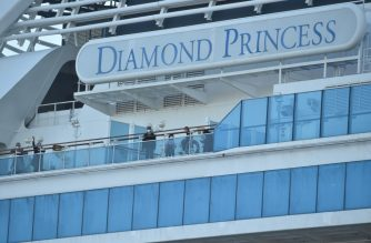 Passengers are seen on the deck of the Diamond Princess cruise ship, with around 3,600 people quarantined onboard due to fears of the new coronavirus, at the Daikaku Pier Cruise Terminal in Yokohama port on February 13, 2020. - At least 218 people on board a cruise ship quarantined off Japan have tested positive for the novel COVID-19 coronavirus, authorities said February 13 as they announced plans to move some elderly passengers off the ship. (Photo by Kazuhiro NOGI / AFP)