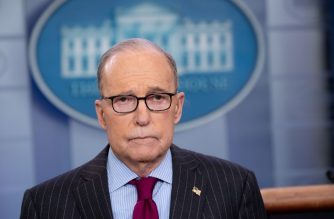 """(FILES) In this file photo taken on January 29, 2020 Larry Kudlow, Director of the National Economic Council, speaks during a television interview in the Brady Press Briefing Room of the White House in Washington, DC. - The United States feels let down by a lack of transparency from China over the coronavirus, COVID-19 outbreak, a senior White House official said February 13, 2020. """"We are a little disappointed that we haven't been invited in and we're a little disappointed in the lack of transparency coming from the Chinese,"""" Larry Kudlow, the director of President Donald Trump's Economic Council, told reporters. (Photo by SAUL LOEB / AFP)"""
