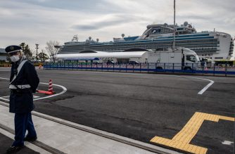 A general view of the Diamond Princess cruise ship, in quarantine due to fears of new COVID-19 coronavirus, is seen at Daikoku pier cruise terminal in Yokohama on February 20, 2020. - Two former passengers of the coronavirus-wracked Diamond Princess have died, local media reported, as fears mount about those who have left the ship after testing negative for the virus. (Photo by Philip FONG / AFP)