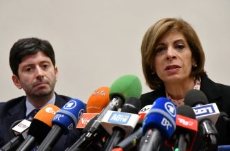 European Commissioner for Health Stella Kyriakides (R) gives a press conference eyed by Italian Health minister Roberto Speranza on the outbreak of Covid-19 also known as Coronavirus in Italy, on February 26, 2020 in Rome. (Photo by Alberto PIZZOLI / AFP)