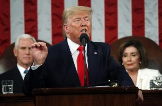 WASHINGTON, DC - FEBRUARY 04: U.S. President Donald Trump delivers the State of the Union address in the House chamber on February 4, 2020 in Washington, DC. Trump is delivering his third State of the Union address on the night before the U.S. Senate is set to vote in his impeachment trial.   Leah Millis-Pool/Getty Images/AFP