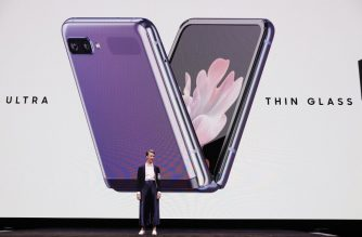SAN FRANCISCO, CA - FEBRUARY 11: Rebecca Hirst, Samsung Marketing Director, unveils the Samsung's Galaxy Z Flip folding smartphone on February 11, 2020 in San Francisco, California. The electronics maker showcased the next generation of Galaxy devices at the yearly event.   Kim White/Getty Images/AFP