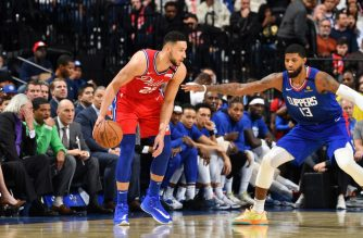 PHILADELPHIA, PA - FEBRUARY 11: Ben Simmons #25 of the Philadelphia 76ers handles the ball against the LA Clippers on February 11, 2020 at the Wells Fargo Center in Philadelphia, Pennsylvania NOTE TO USER: User expressly acknowledges and agrees that, by downloading and/or using this Photograph, user is consenting to the terms and conditions of the Getty Images License Agreement. Mandatory Copyright Notice: Copyright 2020 NBAE   Jesse D. Garrabrant/NBAE via Getty Images/AFP