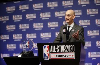 CHICAGO, IL - FEBRUARY 15: NBA Commissioner Adam Silver announces NBA All-Star Game MVP Trophy will honor Kobe Bryant during NBA All-Star Saturday Night Presented by State Farm as part of 2020 NBA All-Star Weekend on February 15, 2020 at United Center in Chicago, Illinois. NOTE TO USER: User expressly acknowledges and agrees that, by downloading and/or using this Photograph, user is consenting to the terms and conditions of the Getty Images License Agreement. Mandatory Copyright Notice: Copyright 2020 NBAE   Jeff Haynes/NBAE via Getty Images/AFP