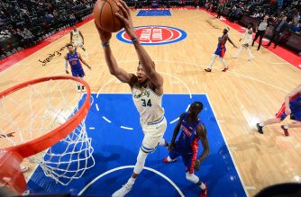 DETROIT, MI - FEBRUARY 20: Giannis Antetokounmpo #34 of the Milwaukee Bucks shoots the ball against the Detroit Pistons on February 20, 2020 at Little Caesars Arena in Detroit, Michigan. NOTE TO USER: User expressly acknowledges and agrees that, by downloading and/or using this photograph, User is consenting to the terms and conditions of the Getty Images License Agreement. Mandatory Copyright Notice: Copyright 2020 NBAE   Chris Schwegler/NBAE via Getty Images/AFP