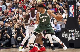 TORONTO, CANADA - FEBRUARY 25: Giannis Antetokounmpo #34 of the Milwaukee Bucks handles the ball against the Toronto Raptors on February 25, 2020 at the Scotiabank Arena in Toronto, Ontario, Canada. NOTE TO USER: User expressly acknowledges and agrees that, by downloading and or using this Photograph, user is consenting to the terms and conditions of the Getty Images License Agreement. Mandatory Copyright Notice: Copyright 2020 NBAE   Mark Blinch/NBAE via Getty Images/AFP
