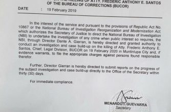 Department Order No. 82 signed by Justice Secretary Menardo Guevarra assigning the National Bureau of Investigation (NBI) to conduct an investigation and case build-up on the killing of Bureau of Corrections former legal chief Atty. Frederic Anthony Santos who was gunned down on Wednesday afternoon, Feb. 19, 2020.
