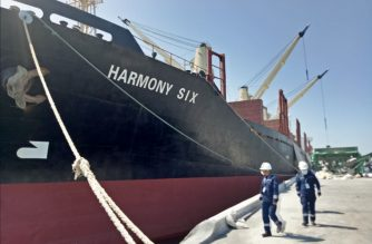 "The Panama-flagged cargo vessel ""MV Harmony 6"" which is now bing investigated by the Philippine Coast Guard after its captain allegedly declared false information of its port clearance details amid intensified Philippine maritime security measures against 2019 Coronavirus Disease (COVID-19).  (Photo courtesy Philippine Coast Guard)"