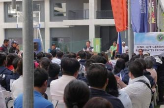The send-off ceremony for OFWs from Wuhan, China who were quarantined at the New Clark City in Tarlac for 14 days./DOH/