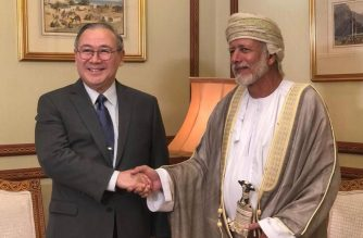 Philippine Foreign Affairs Secretary Teodoro L. Locsin, Jr. is warmly received by his Omani counterpart, Minister Responsible for Foreign Affairs Yusuf bin Allawi, at the Foreign Ministry in Muscat.  (Photo courtesy DFA)