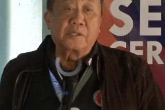 Transportation Secretary Art Tugade leads the send-off of the two train sets on Thursday, Feb. 20, at the PNR Tutuban station./DOTr/