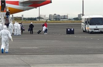 (Courtesy DFA) Thirty Filipinos from Wuhan City arrive in Clark AIr Base after the successful voluntary repatriation that was conducted by the Department of Foreign Affairs (DFA) on Sunday, Feb. 9, 2020. (Photo courtesy DFA)