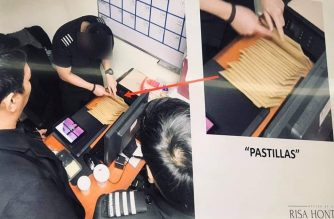 "Photo grab of the so-called ""pastillas"" scheme during the Senate hearing on the issue conducted by Senator Risa Hontiveros. The photos were shown by Bureau of Immigration whistleblower Allison ""Alex"" Chiong. (Courtesy Meanne Corvera, Eagle News Service)"
