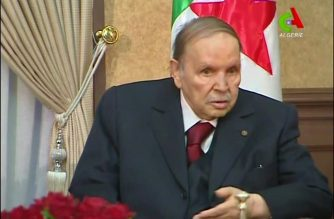 "A video grab taken from footage broadcast by Algeria's ""Canal Algerie"" on March 11, 2019 shows Algerian President Abdelaziz Bouteflika meeting with members of his government in the capital Algiers. - Algeria's ailing President Abdelaziz Bouteflika announced he is dropping his bid for a fifth term in office, scrapping the upcoming elections altogether after weeks of protests against his candidacy. ""Peacefully, we have overthrown the puppet!"" people sang in Algiers following the president's decision. (Photo by - / CANAL ALGERIE / AFP) / BEST QUALITY AVAILABLE / XGTY / == RESTRICTED TO EDITORIAL USE - MANDATORY CREDIT ""AFP PHOTO / HO / CANAL ALGERIE"" - NO MARKETING NO ADVERTISING CAMPAIGNS - DISTRIBUTED AS A SERVICE TO CLIENTS =="