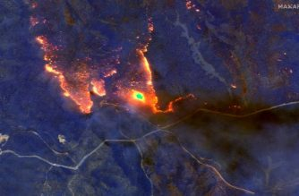 "This January 4, 2020, satellite shortwave infrared closeup image released by Maxar Technologies shows wildfires east of Orbost, Australia. - Skies turned black and ash rained down as fires raged across southeastern Australia on January 4, threatening power supplies to major cities and prompting the call-up of 3,000 military reservists. (Photo by HO / Satellite image ©2020 Maxar Technologies / AFP) / RESTRICTED TO EDITORIAL USE - MANDATORY CREDIT ""AFP PHOTO / Satellite image ©2020 Maxar Technologies"" - NO MARKETING - NO ADVERTISING CAMPAIGNS - DISTRIBUTED AS A SERVICE TO CLIENTS - The watermark may not be removed/cropped"