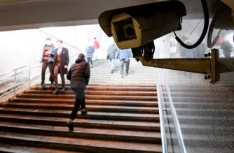 A picture shows a surveillance camera in an underground passage in Moscow on January 27, 2020. - A vast and contentious network of facial-recognition cameras keeping watch over Moscow is now playing a key role in slowing the rapid spread of coronavirus in Russia. (Photo by Kirill KUDRYAVTSEV / AFP)