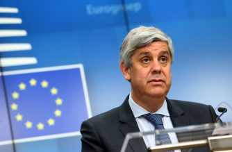 Portuguese Finance Minister and Eurogroup chief Mario Centeno gives a speech during a press conference following a General Affairs Council meeting at the EU headquarters in Brussels on February 17, 2020. (Photo by François WALSCHAERTS / AFP)