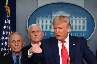 US President Donald Trump speaksduring a press conference on the COVID-19, coronavirus, outbreak as Director of the National Institute of Allergy and Infectious Diseases at the National Institutes of Health Anthony Fauci (L) and US Vice President Mike Pence look on at the White House in Washington, DC on February 29, 2020. - The number of novel coronavirus cases in the world rose to 85,919, including 2,941 deaths, across 61 countries and territories by 1700 GMT on Saturday, according to a report gathered by AFP from official sources. (Photo by Roberto SCHMIDT / AFP)