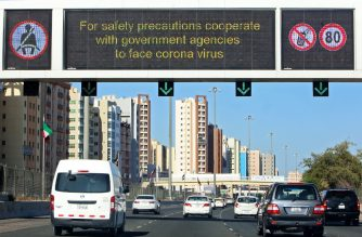 Vehicles pass by a billboard showing precautionary instructions against the COVID-19 coronavirus disease as they drive along a main highway in Kuwait City on March 3, 2020. (Photo by YASSER AL-ZAYYAT / AFP)