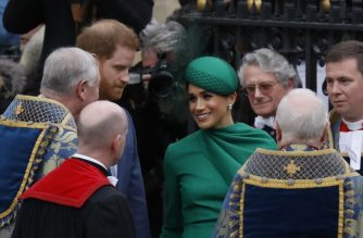 Britain's Prince Harry, Duke of Sussex (2nd-L) and Britain's Meghan, Duchess of Sussex (3rd-R) leave after attending the annual Commonwealth Service at Westminster Abbey in London on March 09, 2020. - Britain's Queen Elizabeth II has been the Head of the Commonwealth throughout her reign. Organised by the Royal Commonwealth Society, the Service is the largest annual inter-faith gathering in the United Kingdom. (Photo by Tolga AKMEN / AFP)