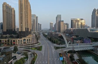 This aerial photo taken on March 10, 2020 shows an empty street in Wuhan in China's central Hubei province. - China said on March 10 the epicentre of the new coronavirus outbreak Hubei would relax travel restrictions to allow healthy people to move within the hard-hit province. (Photo by STR / AFP) / China OUT