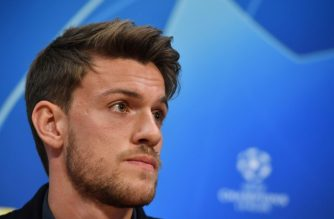 (FILES) In this file photo taken on April 09, 2019 Juventus' Italian defender  Daniele Rugani gives a press conference at the  Johan Cruyff ArenA in Amsterdam on the eve of the UEFA Champions League quarter-final football match between Ajax Amsterdam and Juventus FC. - Juventus defender Daniele Rugani tested positive for coronavirus the club annnounced late on March 11, 2020. (Photo by EMMANUEL DUNAND / AFP)