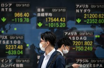 Pedestrians wearing face masks walk past an electric board showing the Nikkei 225 index (C) on the Tokyo Stock Exchange in Tokyo on March 13, 2020. - Tokyo's benchmark Nikkei index fell more than six percent, trimming losses following a global rout on fears of a recession linked to the coronavirus outbreak. (Photo by Philip FONG / AFP)