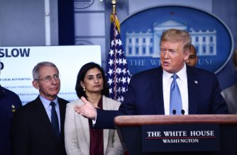 US President Donald Trump speaks during a press briefing at the White House in Washington, DC, on March 16, 2020. - The first human trial to evaluate a candidate vaccine against the new coronavirus has begun in Seattle, US health officials said, raising hopes in the global fight against the disease. (Photo by Brendan Smialowski / AFP)