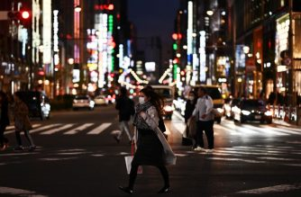 People wearing face masks, amid concerns of the COVID-19 coronavirus, crosses a street in Tokyo's Ginza area on March 18, 2020. (Photo by CHARLY TRIBALLEAU / AFP)