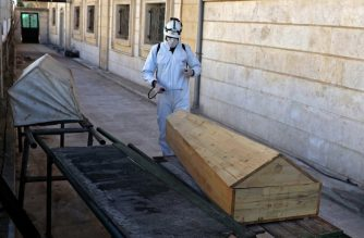 "A member of the Syrian Civil Defence known as the ""White Helmets"" disinfects the back of a mosque, as part of preventive measures taken against infections by the novel coronavirus, in the Syrian town of Dana, east of the Turkish-Syrian border in the northwestern Idlib province, on March 22, 2020. - Unlike Syria, its five neighbours, Iraq, Israel, Jordan, Lebanon and Turkey, have all reported cases of coronavirus. The rebel-held and densely-populated province of Idlib in northwest Syria, besieged by government forces and facing severe shortages of medical supplies and facilities, would suffer the most from an outbreak. (Photo by AAREF WATAD / AFP)"