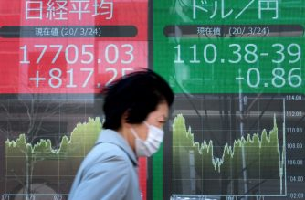 A pedestrian walks in front of quotation boards displaying the share price numbers for early trading on the Tokyo Stock Exchange (L) and the foreign exchange rate between the yen and the US dollar (R) in Tokyo on March 24, 2020. - Tokyo stocks opened higher March 24 supported by a weak yen, continuing to buck the global downtrend due to the mounting economic toll from the coronavirus. (Photo by Kazuhiro NOGI / AFP)