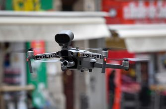 A Police drone flies on March 24, 2020 over Marseille's Capucins market which is closed to the public on the eighth day of a strict nationwide lockdown to curb the spread of the COVID-19 infection caused by the novel coronavirus. (Photo by GERARD JULIEN / AFP)