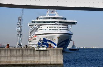 The Diamond Princess cruise ship is seen at a pier in the port of Yokohama on March 25, 2020. - Last month, the cruise ship Diamond Princess was quarantined off the coast of Japan and more than 700 people of the 3,700 passengers and crew on board tested positive for COVID-19. (Photo by Kazuhiro NOGI / AFP)