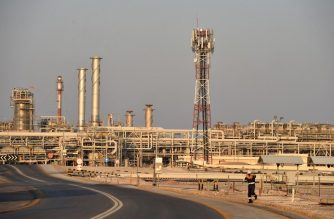 (FILES) In this file photo taken on September 20, 2019 A general view of Saudi Aramco's Abqaiq oil processing plant on September 20, 2019. - Despite the coronavirus pandemic that is devastating the world economy and oil demand, crude oil production continues at full steam, particularly in Saudi Arabia and the United States, pushing storage capacity to its limits. (Photo by Fayez Nureldine / AFP)
