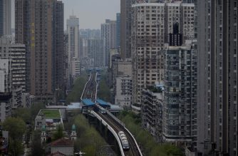 A general shot shot shows buildings in Wuhan, in China's central Hubei province on March 28, 2020. (Photo by NOEL CELIS / AFP)