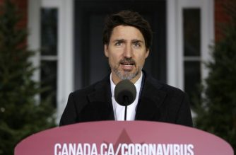 Canadian Prime Minister Justin Trudeau speaks during a news conference on COVID-19 situation in Canada from his residence March 29, 2020 in Ottawa, Canada. (Photo by Dave Chan / AFP)