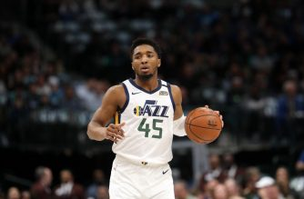 DALLAS, TEXAS - FEBRUARY 10: Donovan Mitchell #45 of the Utah Jazz at American Airlines Center on February 10, 2020 in Dallas, Texas. NOTE TO USER: User expressly acknowledges and agrees that, by downloading and or using this photograph, User is consenting to the terms and conditions of the Getty Images License Agreement.   Ronald Martinez/Getty Images/AFP