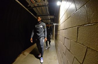 DENVER, CO - FEBRUARY 12: LeBron James #23 of the Los Angeles Lakers walks to the court before the game against the Denver Nuggets on February 12, 2020 at the Pepsi Center in Denver, Colorado. NOTE TO USER: User expressly acknowledges and agrees that, by downloading and/or using this Photograph, user is consenting to the terms and conditions of the Getty Images License Agreement. Mandatory Copyright Notice: Copyright 2020 NBAE   Bart Young/NBAE via Getty Images/AFP