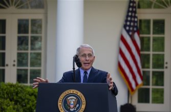 WASHINGTON, DC - MARCH 29: Anthony Fauci, Director of the National Institute of Allergy and Infectious Diseases speaks in the Rose Garden for the daily coronavirus briefing at the White House on March 29, 2020 in Washington, DC. The United States is advising residents of New York, New Jersey and Connecticut not to travel domestically after the number of reported coronavirus deaths doubled to over 2,000 nationwide within two days.   Tasos Katopodis/Getty Images/AFP